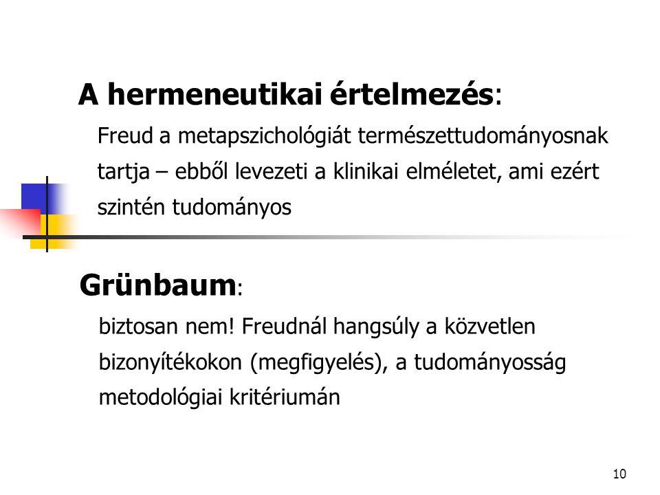 A hermeneutikai értelmezés: Freud a metapszichológiát természettudományosnak tartja – ebből levezeti a klinikai elméletet, ami ezért szintén tudományos