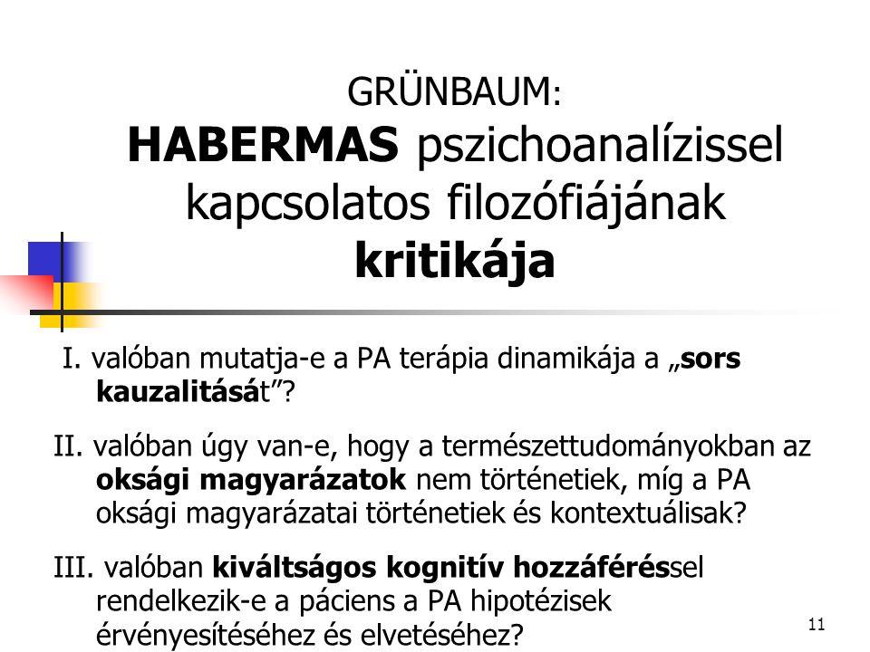 GRÜNBAUM: HABERMAS pszichoanalízissel kapcsolatos filozófiájának kritikája