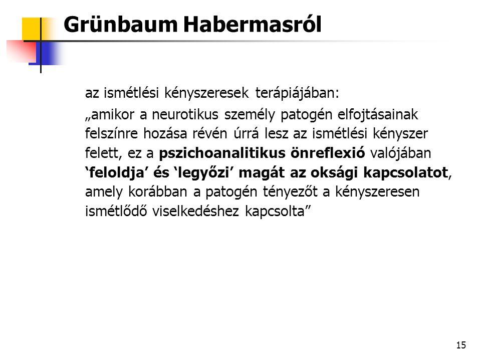 Grünbaum Habermasról az ismétlési kényszeresek terápiájában: