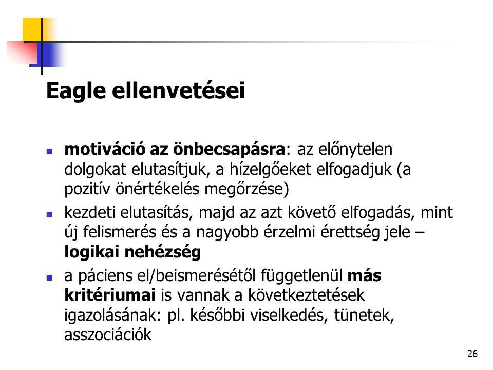 Eagle ellenvetései motiváció az önbecsapásra: az előnytelen dolgokat elutasítjuk, a hízelgőeket elfogadjuk (a pozitív önértékelés megőrzése)