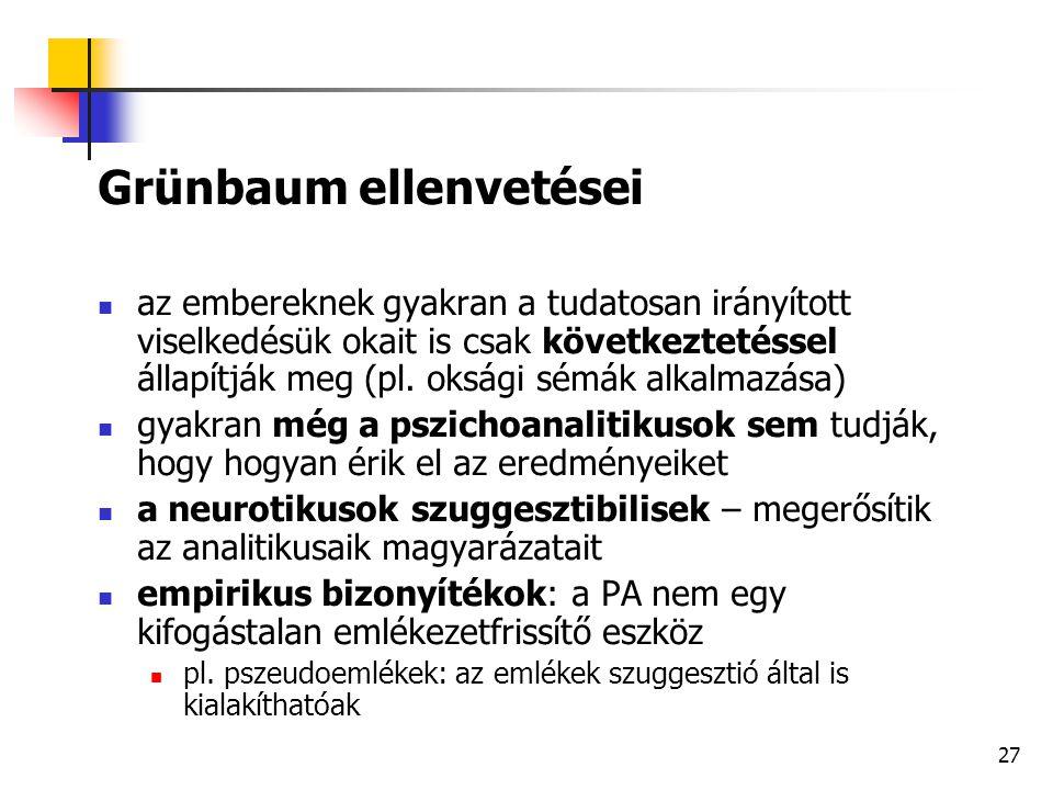 Grünbaum ellenvetései
