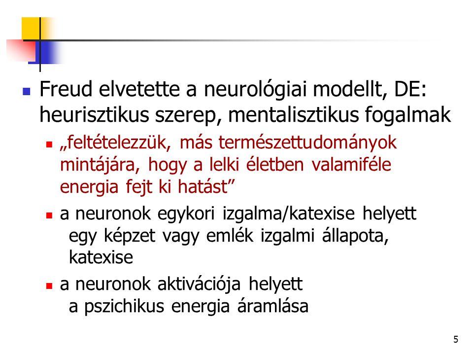 Freud elvetette a neurológiai modellt, DE: heurisztikus szerep, mentalisztikus fogalmak