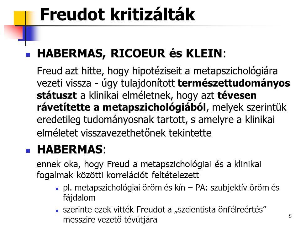 Freudot kritizálták HABERMAS, RICOEUR és KLEIN: