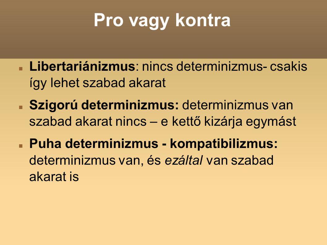 Pro vagy kontra Libertariánizmus: nincs determinizmus- csakis így lehet szabad akarat.