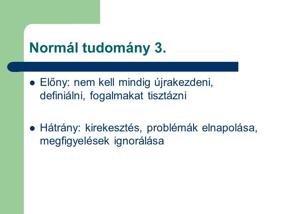 Normál tudomány 3. Előny: nem kell mindig újrakezdeni, definiálni, fogalmakat tisztázni.