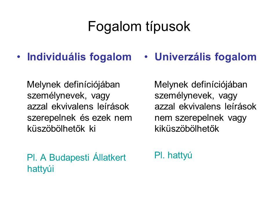 Fogalom típusok Individuális fogalom Univerzális fogalom