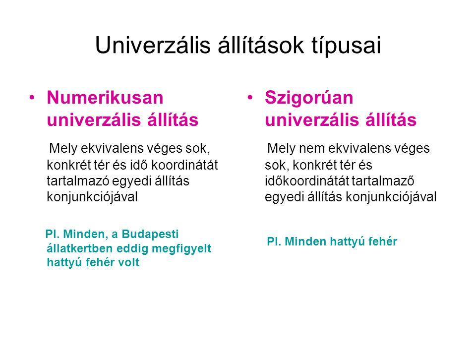 Univerzális állítások típusai