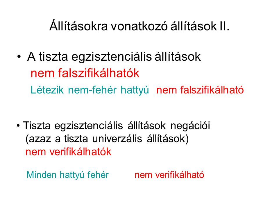 Állításokra vonatkozó állítások II.