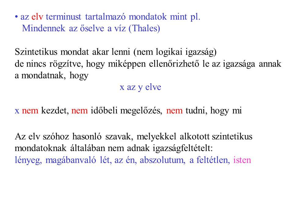 az elv terminust tartalmazó mondatok mint pl.