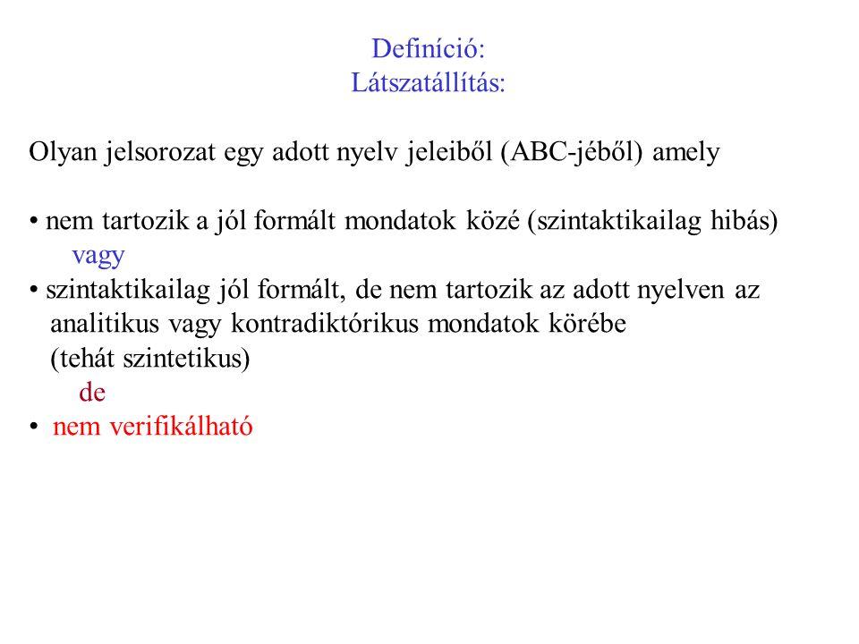 Definíció: Látszatállítás: Olyan jelsorozat egy adott nyelv jeleiből (ABC-jéből) amely.
