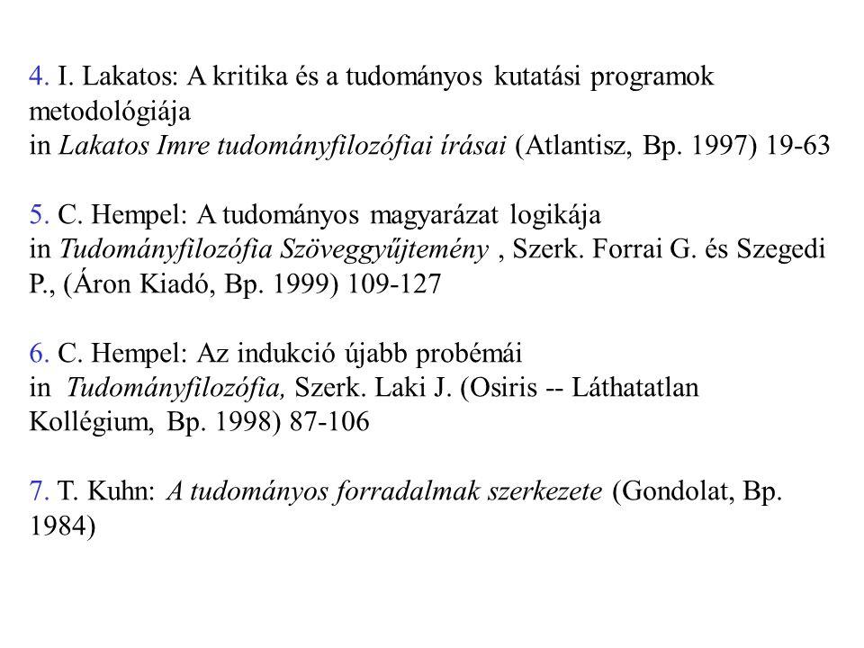 4. I. Lakatos: A kritika és a tudományos kutatási programok metodológiája in Lakatos Imre tudományfilozófiai írásai (Atlantisz, Bp. 1997) 19-63