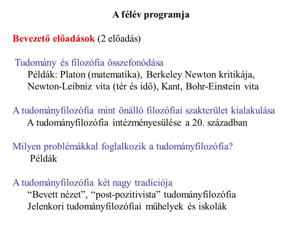 A félév programja Bevezető előadások (2 előadás) Tudomány és filozófia összefonódása.