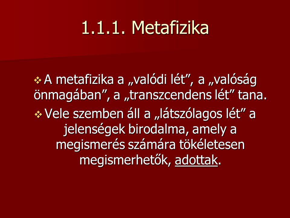 """1.1.1. Metafizika A metafizika a """"valódi lét , a """"valóság önmagában , a """"transzcendens lét tana."""
