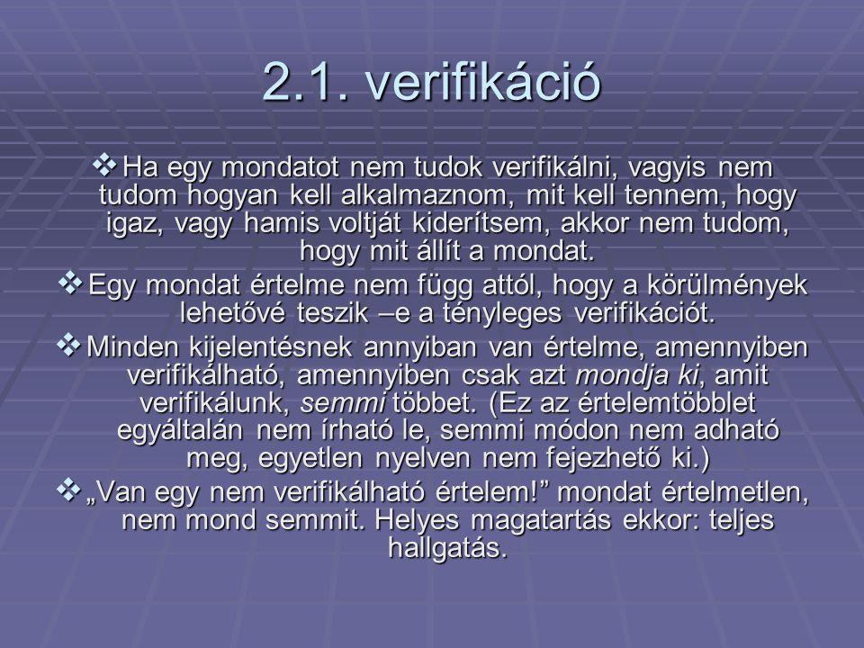 2.1. verifikáció