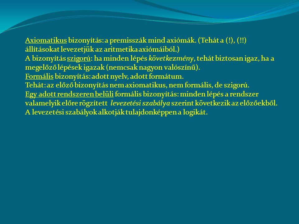Axiomatikus bizonyítás: a premisszák mind axiómák. (Tehát a (. ), (