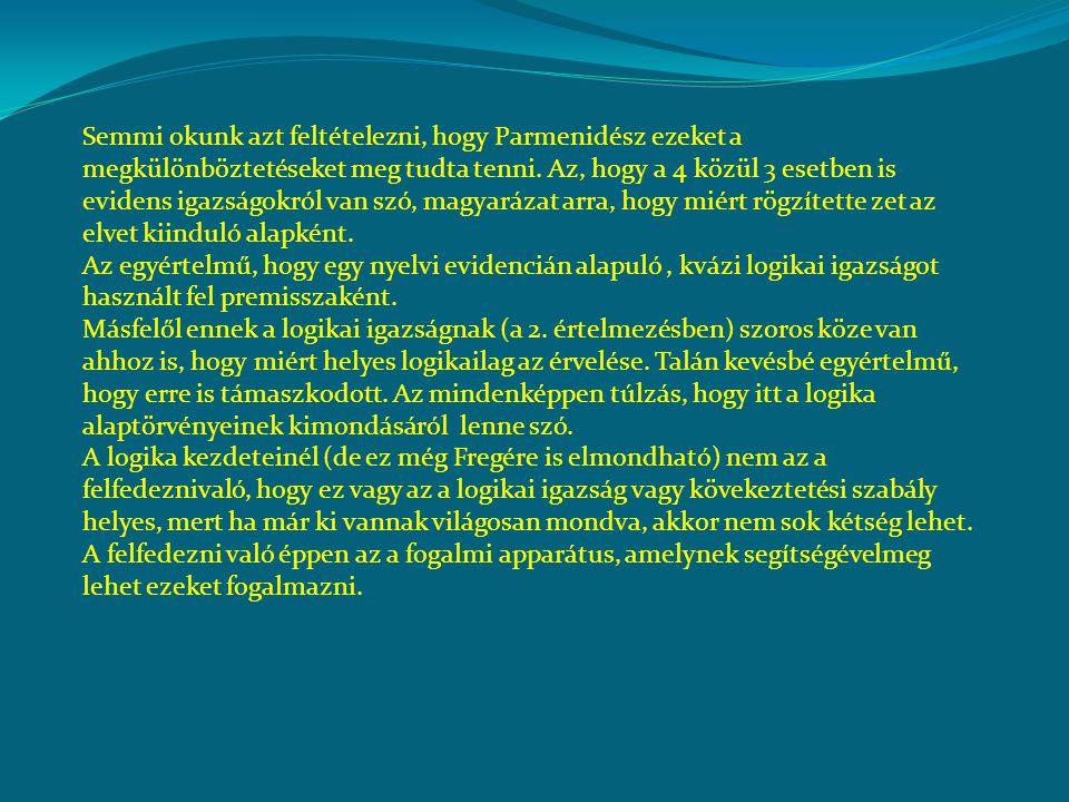 Semmi okunk azt feltételezni, hogy Parmenidész ezeket a megkülönböztetéseket meg tudta tenni. Az, hogy a 4 közül 3 esetben is evidens igazságokról van szó, magyarázat arra, hogy miért rögzítette zet az elvet kiinduló alapként.
