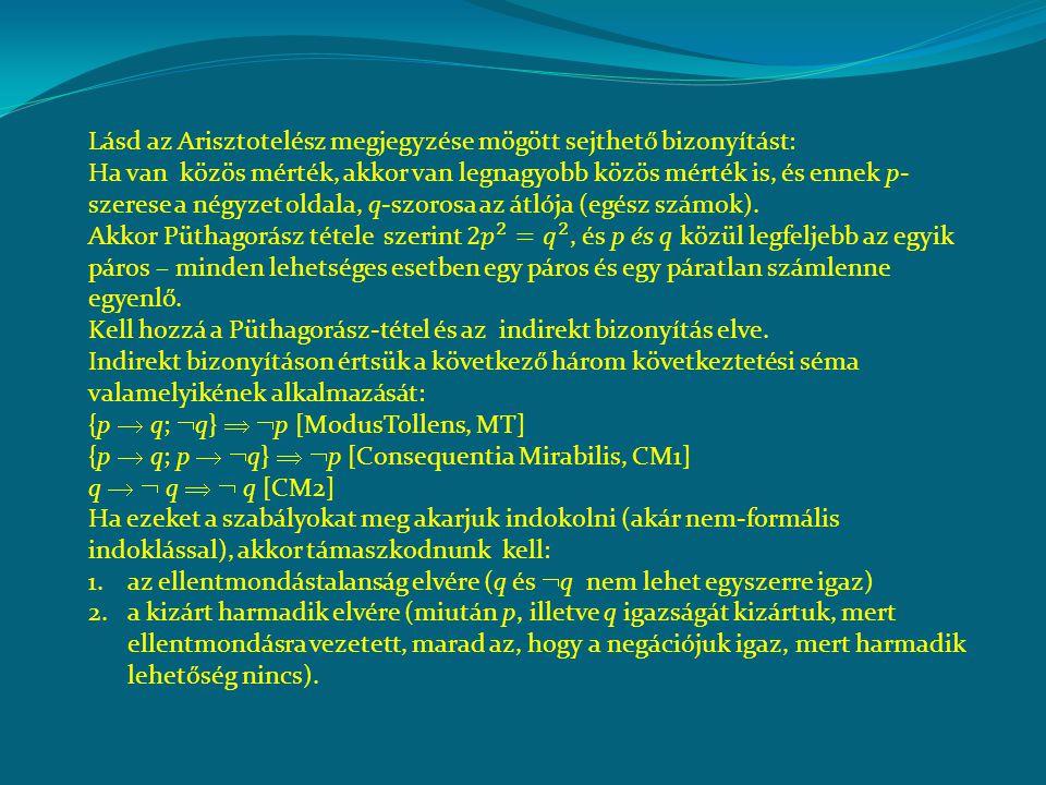 Lásd az Arisztotelész megjegyzése mögött sejthető bizonyítást: