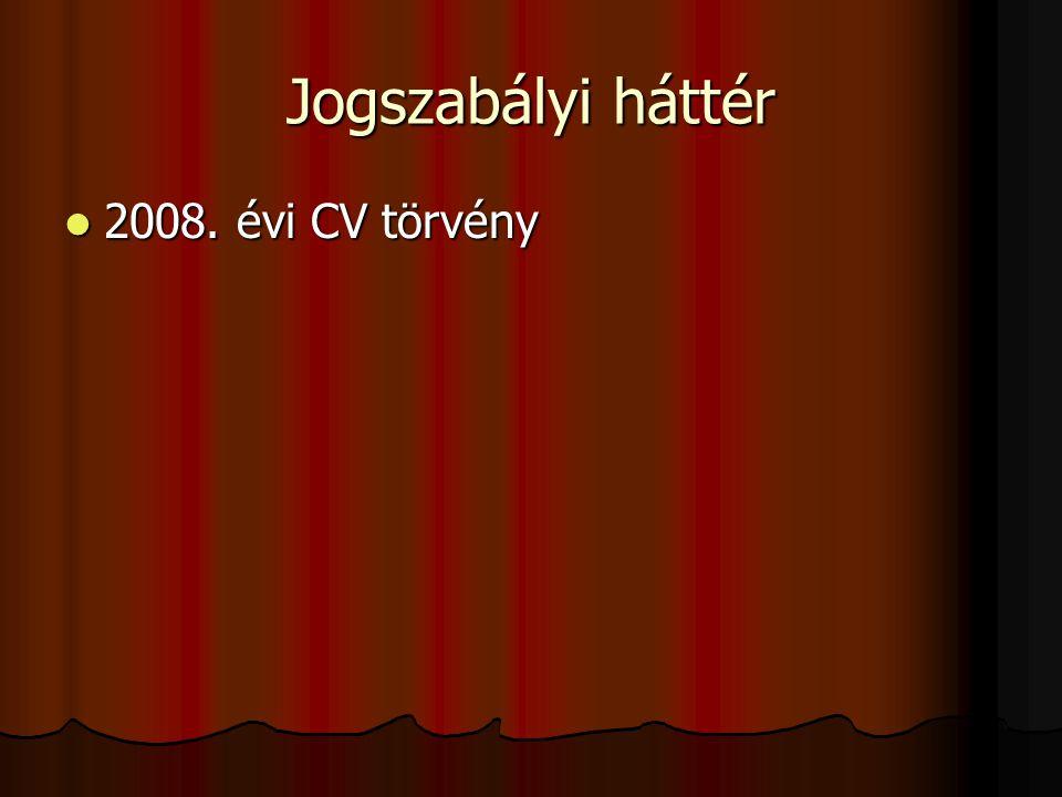 Jogszabályi háttér 2008. évi CV törvény