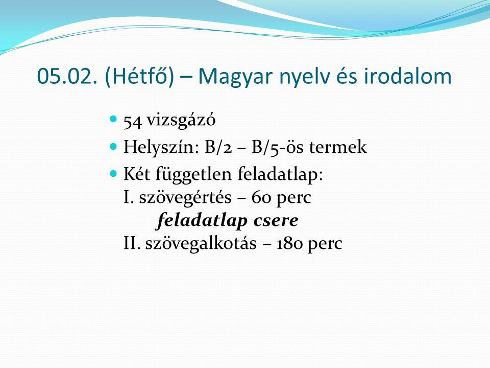 05.02. (Hétfő) – Magyar nyelv és irodalom