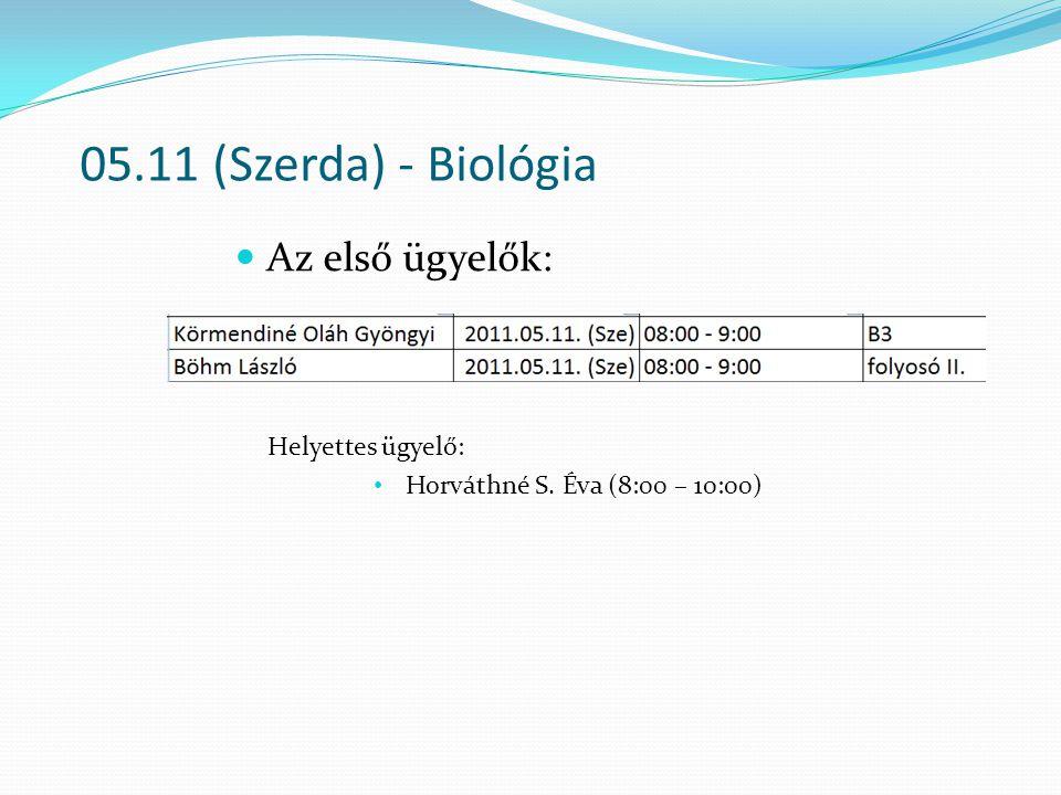 05.11 (Szerda) - Biológia Az első ügyelők: Helyettes ügyelő: