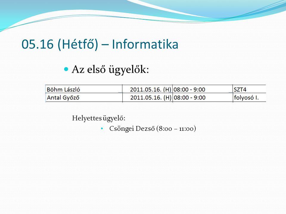 05.16 (Hétfő) – Informatika Az első ügyelők: Helyettes ügyelő: