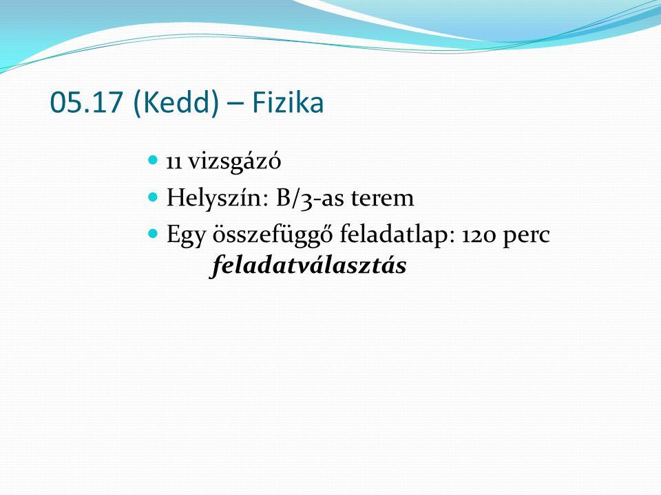 05.17 (Kedd) – Fizika 11 vizsgázó Helyszín: B/3-as terem