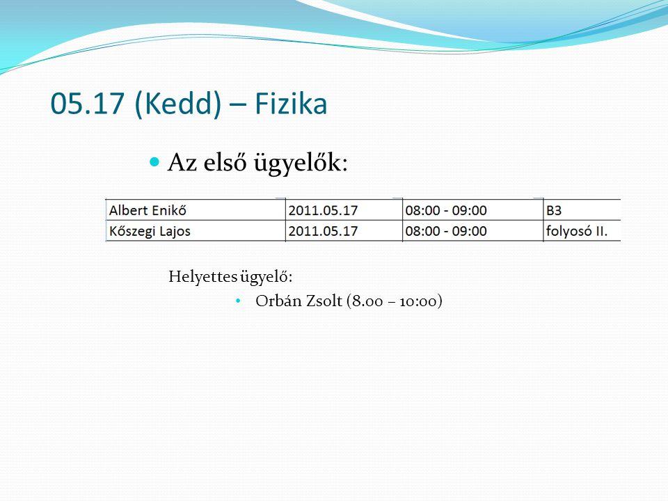 05.17 (Kedd) – Fizika Az első ügyelők: Helyettes ügyelő: