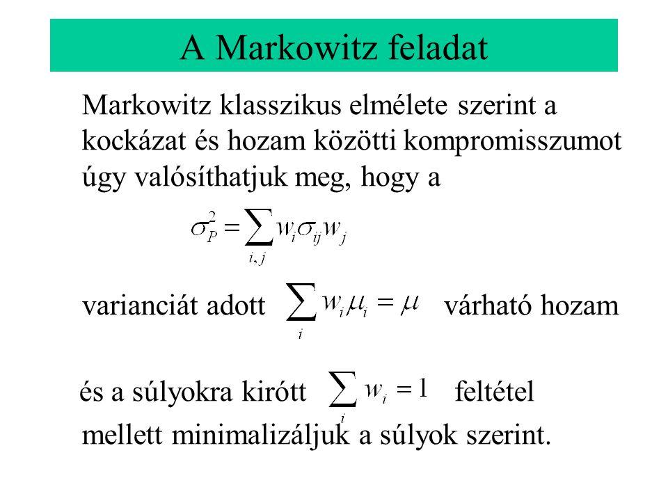A Markowitz feladat Markowitz klasszikus elmélete szerint a kockázat és hozam közötti kompromisszumot úgy valósíthatjuk meg, hogy a.