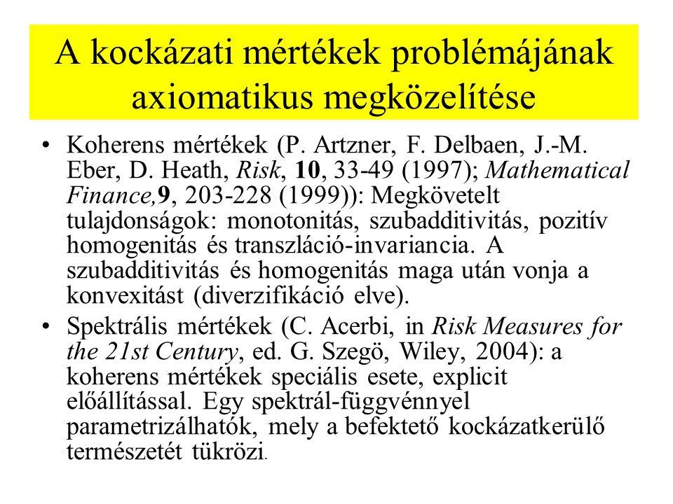 A kockázati mértékek problémájának axiomatikus megközelítése