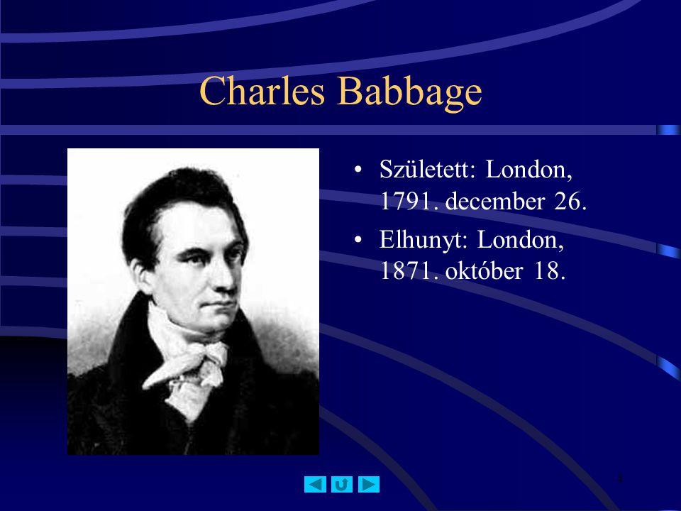 Charles Babbage Született: London, 1791. december 26.
