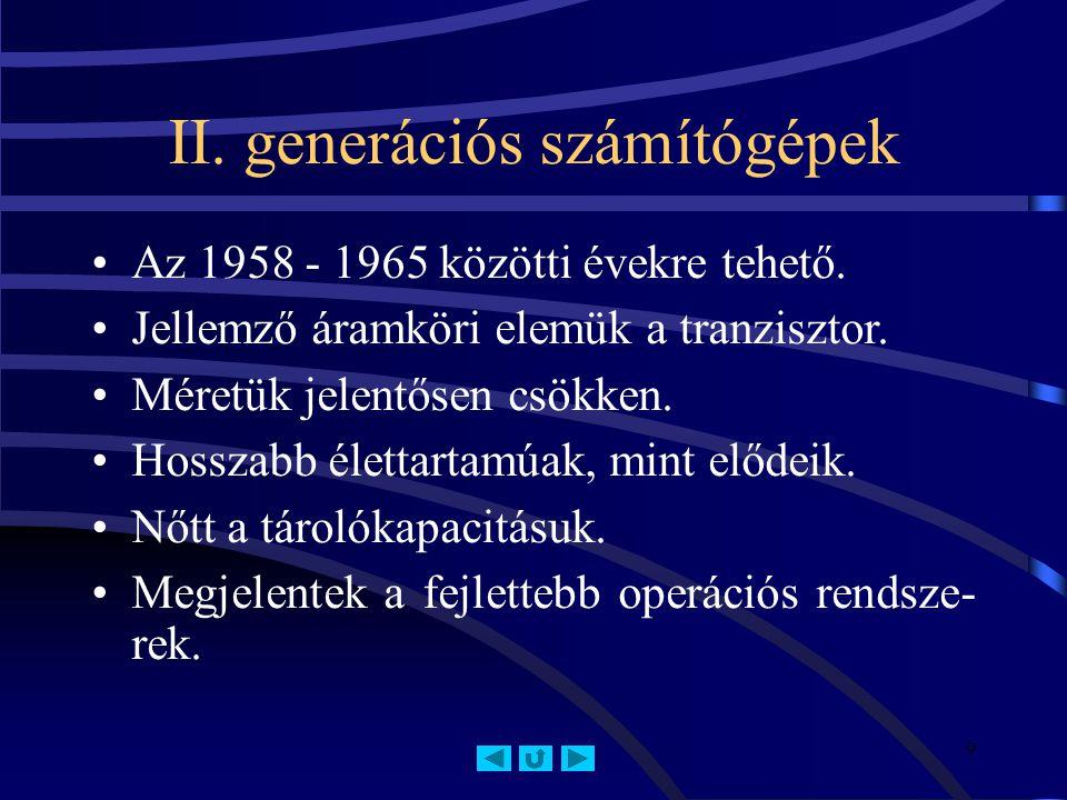 II. generációs számítógépek