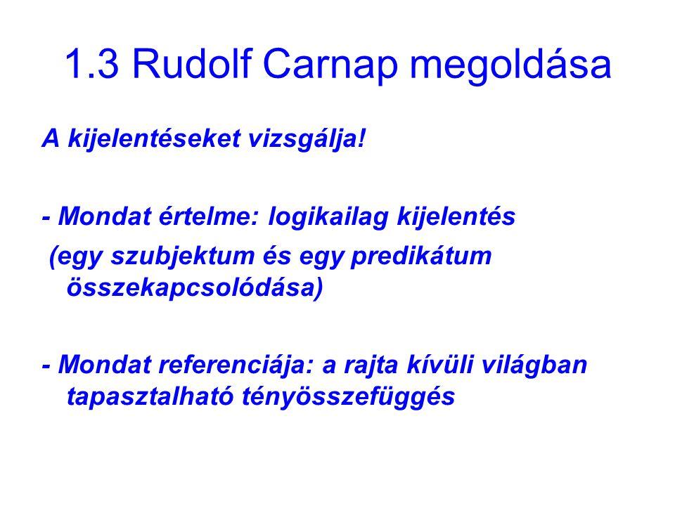 1.3 Rudolf Carnap megoldása