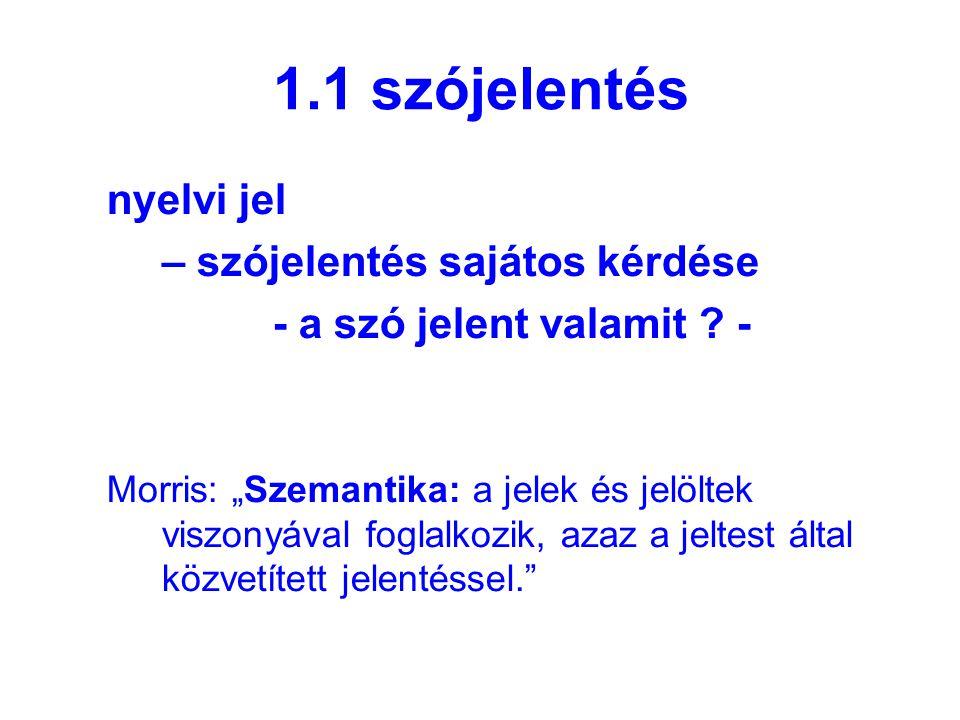1.1 szójelentés nyelvi jel – szójelentés sajátos kérdése