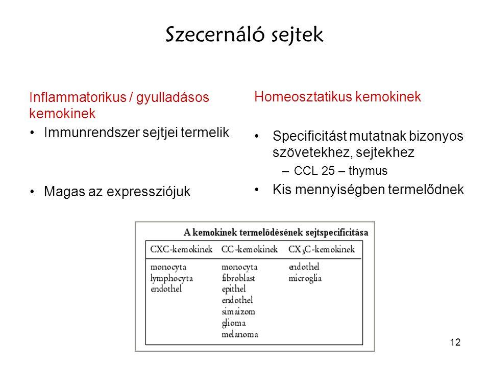 Szecernáló sejtek Inflammatorikus / gyulladásos kemokinek
