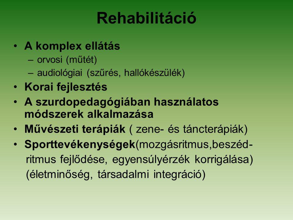 Rehabilitáció A komplex ellátás Korai fejlesztés