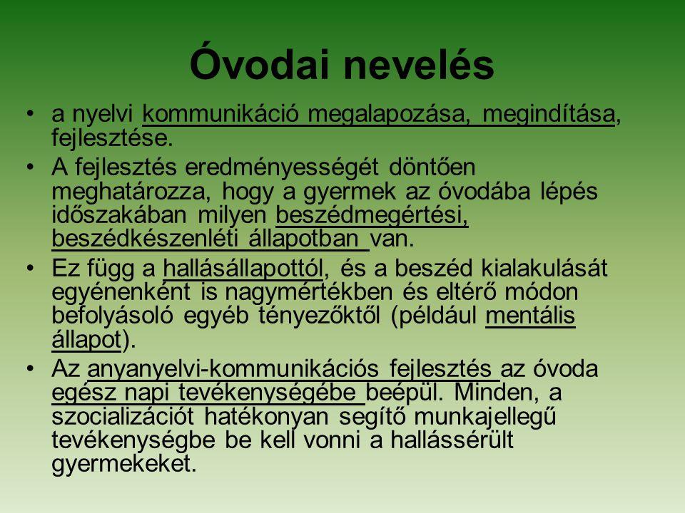 Óvodai nevelés a nyelvi kommunikáció megalapozása, megindítása, fejlesztése.