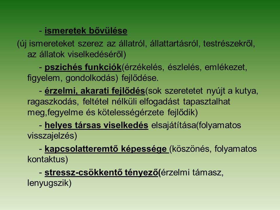 - ismeretek bővülése (új ismereteket szerez az állatról, állattartásról, testrészekről, az állatok viselkedéséről) - pszichés funkciók(érzékelés, észlelés, emlékezet, figyelem, gondolkodás) fejlődése.