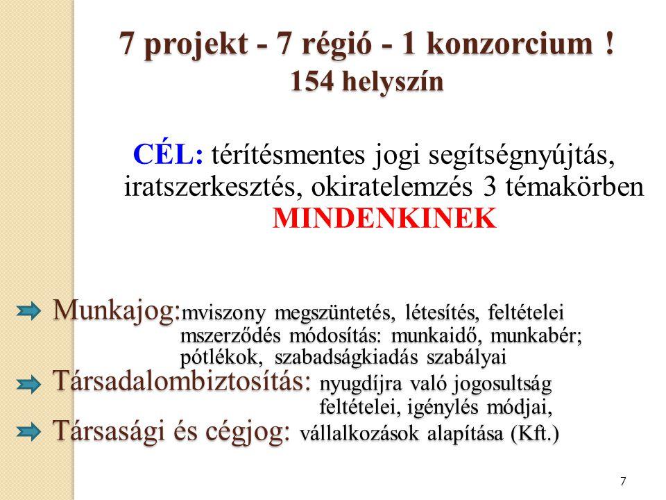 7 projekt - 7 régió - 1 konzorcium ! 154 helyszín