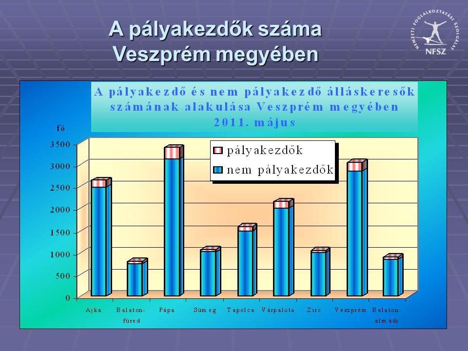 A pályakezdők száma Veszprém megyében