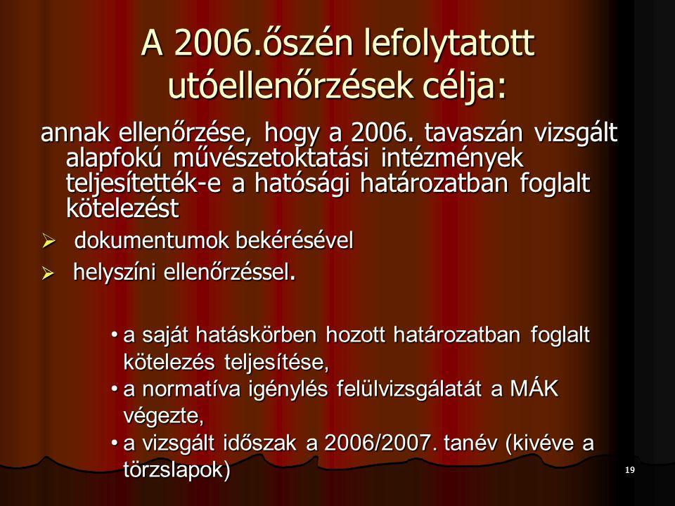 A 2006.őszén lefolytatott utóellenőrzések célja: