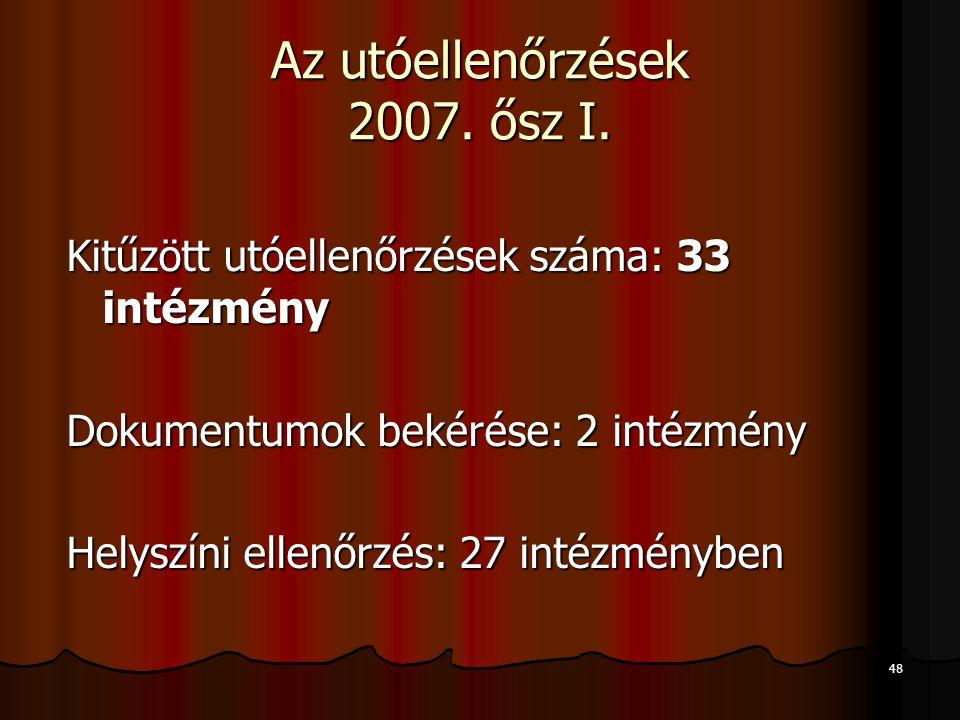 Az utóellenőrzések 2007. ősz I.