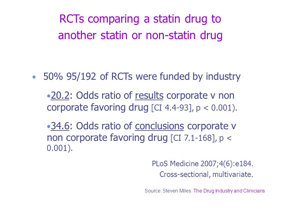 RCTs comparing a statin drug to another statin or non-statin drug