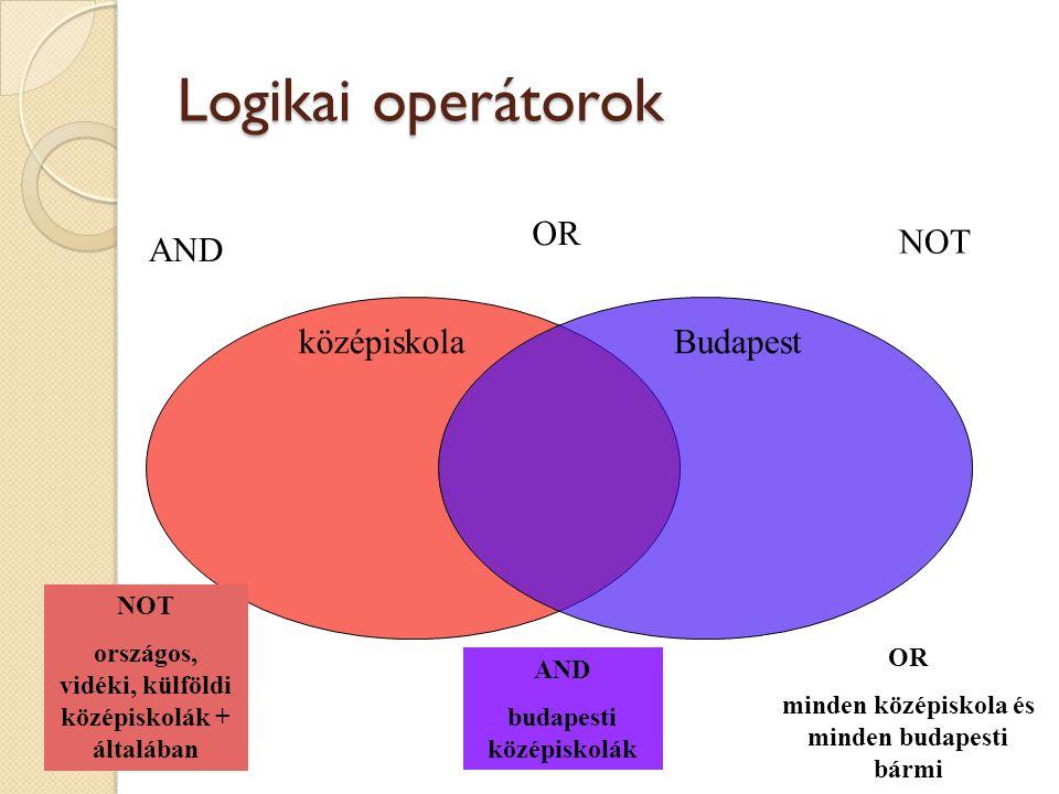 Logikai operátorok OR NOT AND középiskola Budapest NOT