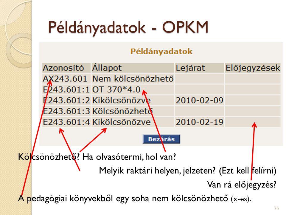 Példányadatok - OPKM Kölcsönözhető Ha olvasótermi, hol van