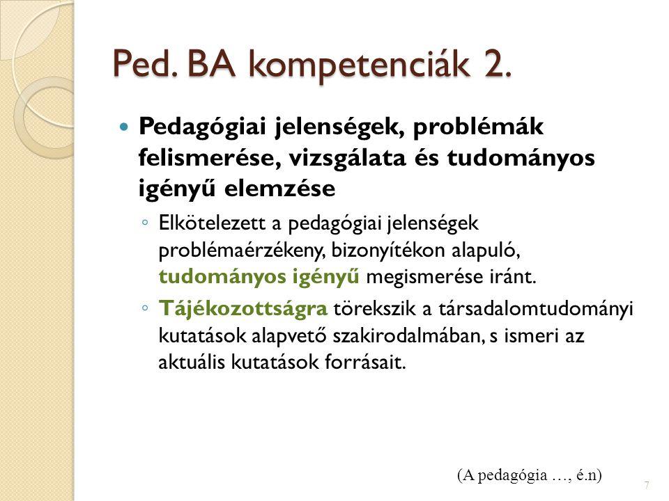 Ped. BA kompetenciák 2. Pedagógiai jelenségek, problémák felismerése, vizsgálata és tudományos igényű elemzése.
