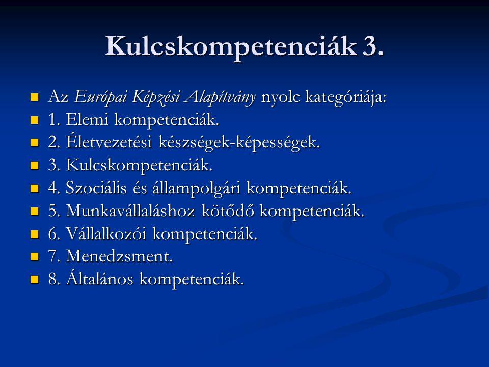 Kulcskompetenciák 3. Az Európai Képzési Alapítvány nyolc kategóriája: