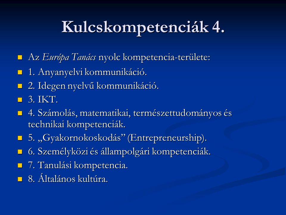 Kulcskompetenciák 4. Az Európa Tanács nyolc kompetencia-területe: