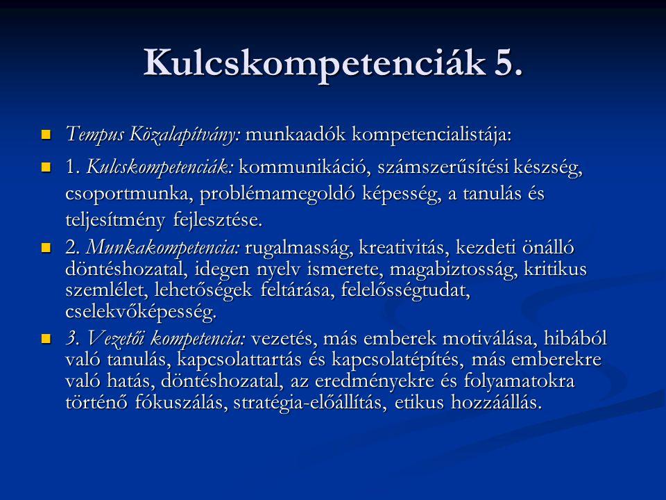 Kulcskompetenciák 5. Tempus Közalapítvány: munkaadók kompetencialistája: