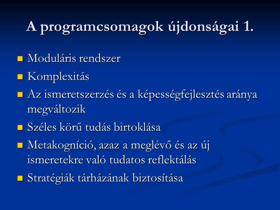 A programcsomagok újdonságai 1.