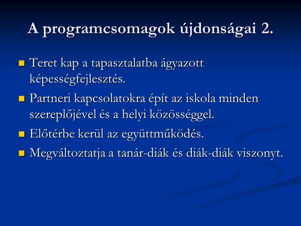 A programcsomagok újdonságai 2.